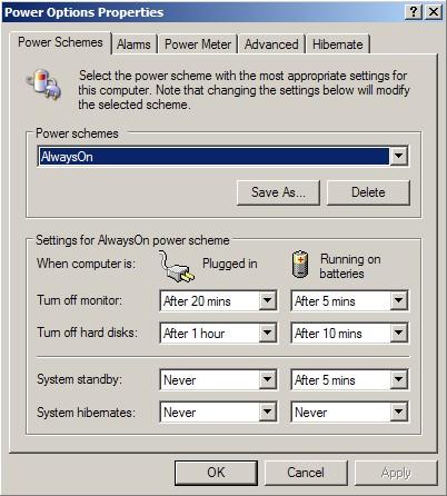 Laptop Power ManagementSettings